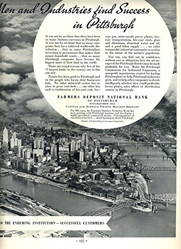 Pittsburgh Pennsylvania 3 Rivers Farmers Deposit National Bank Magazine Ad 1950