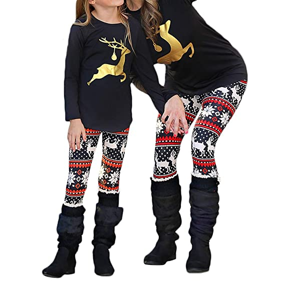 92dbca34ce Mother Daughter Matching Shirts Set Christmas Long Sleeve Deer Print Family  Clothes Outfits (Black-
