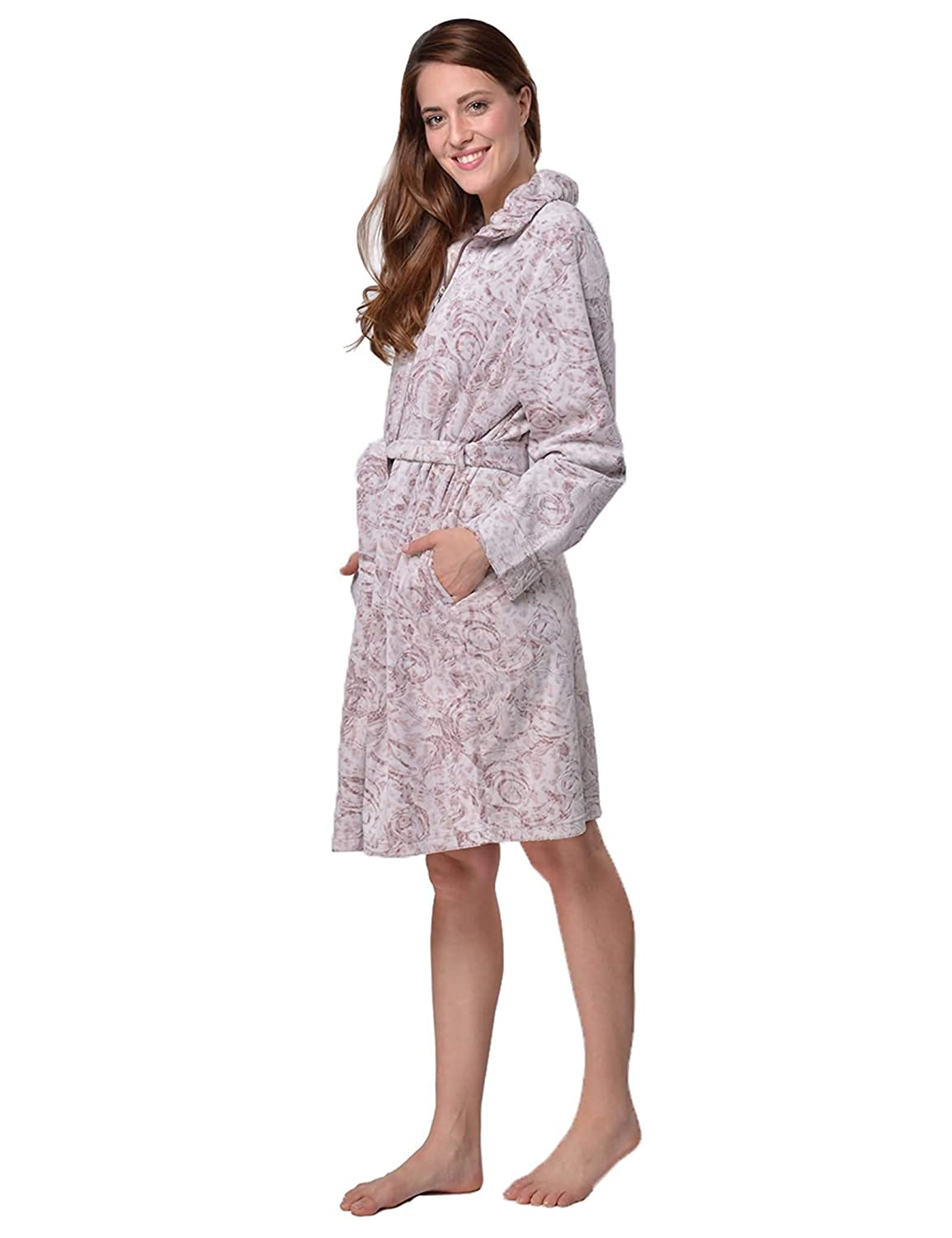 RAIKOU Ladies Luxury Bathrobe Dressing Gown Sauna Coat Loungewear Soft and Super  Fluffy Coral Fleece Relax Terry Microfiber with Burnout Technique and ... a82896b4d