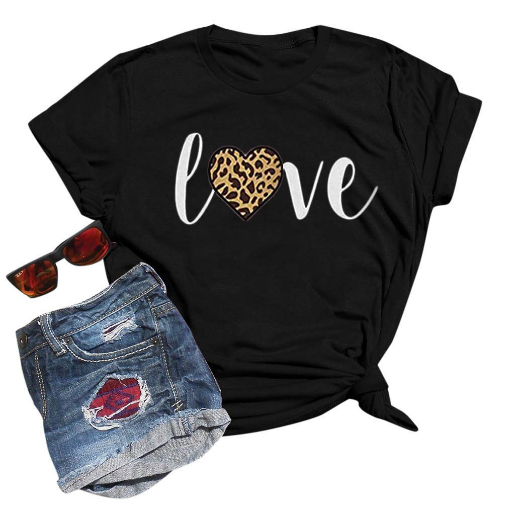 Womens Valentines Day Casual Loose Crew Neck Blouses Short Sleeve Tops Printed T-Shirt