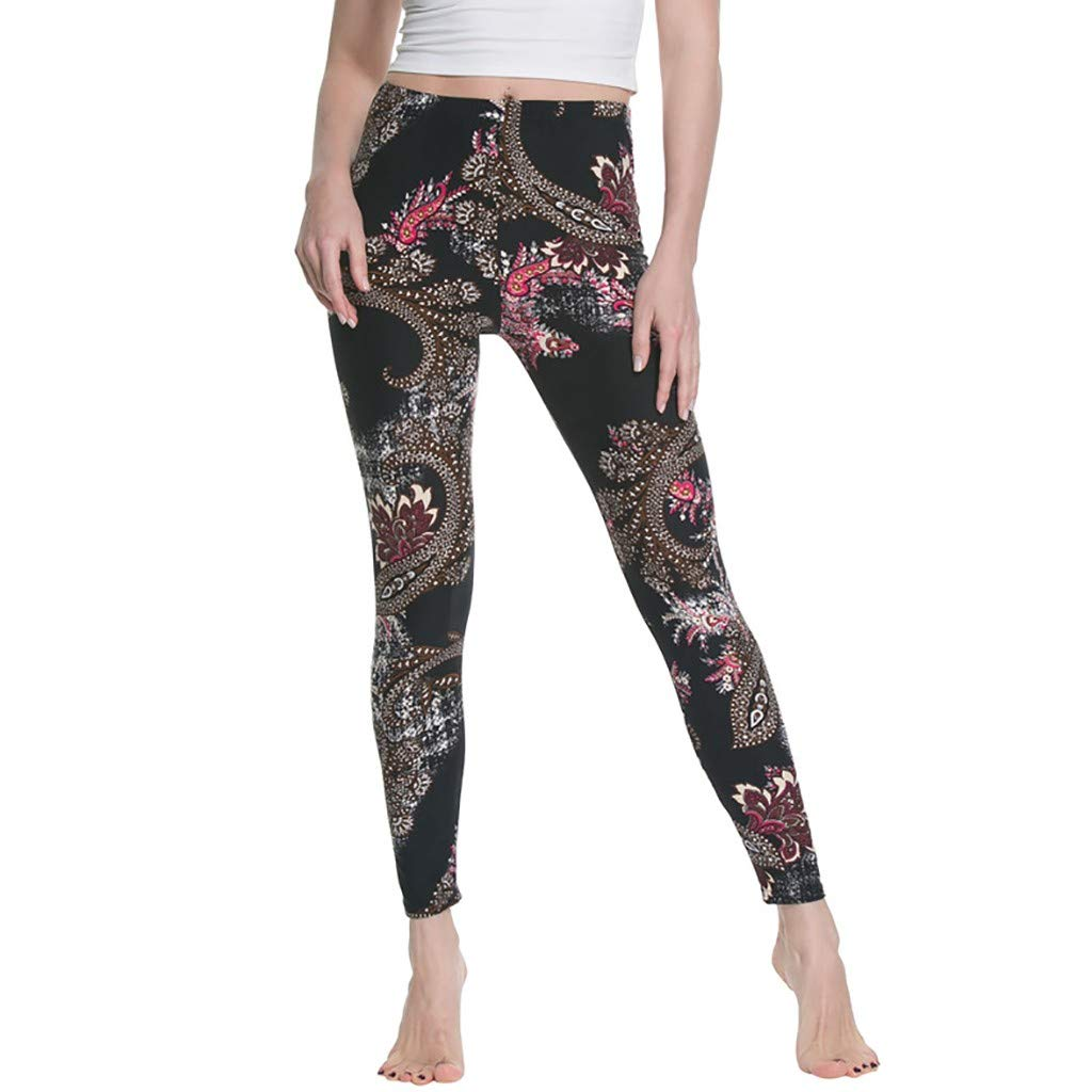 NUWFOR Women's High Waist Print Yoga Leggings Running Pants Pants(Black,M US Waist:23.62-43.31'')
