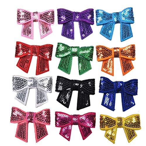 Patches - 12pcs Diy Shiny Sequin Bow Knot Applique Pathches Girl Without Clip And Clothing Hair - Dress Sequin Appliques Girl Applique Sequin Tennis Suit Felt Butterfly Bead Patch Hook Pic - Assy Pick