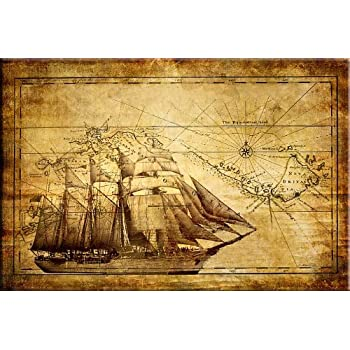 Startonight Canvas Wall Art Old Map With