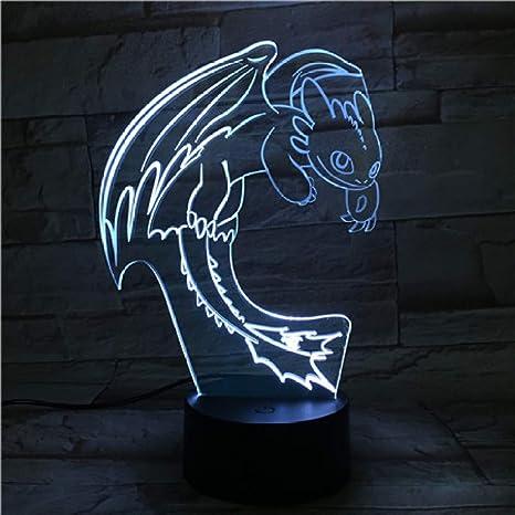 KangYD Lovely Dragon 3D Night Light, LED Visual Lamp, Child ...