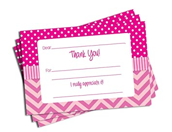 50 pink chevron fill in thank you cards baby shower bridal shower