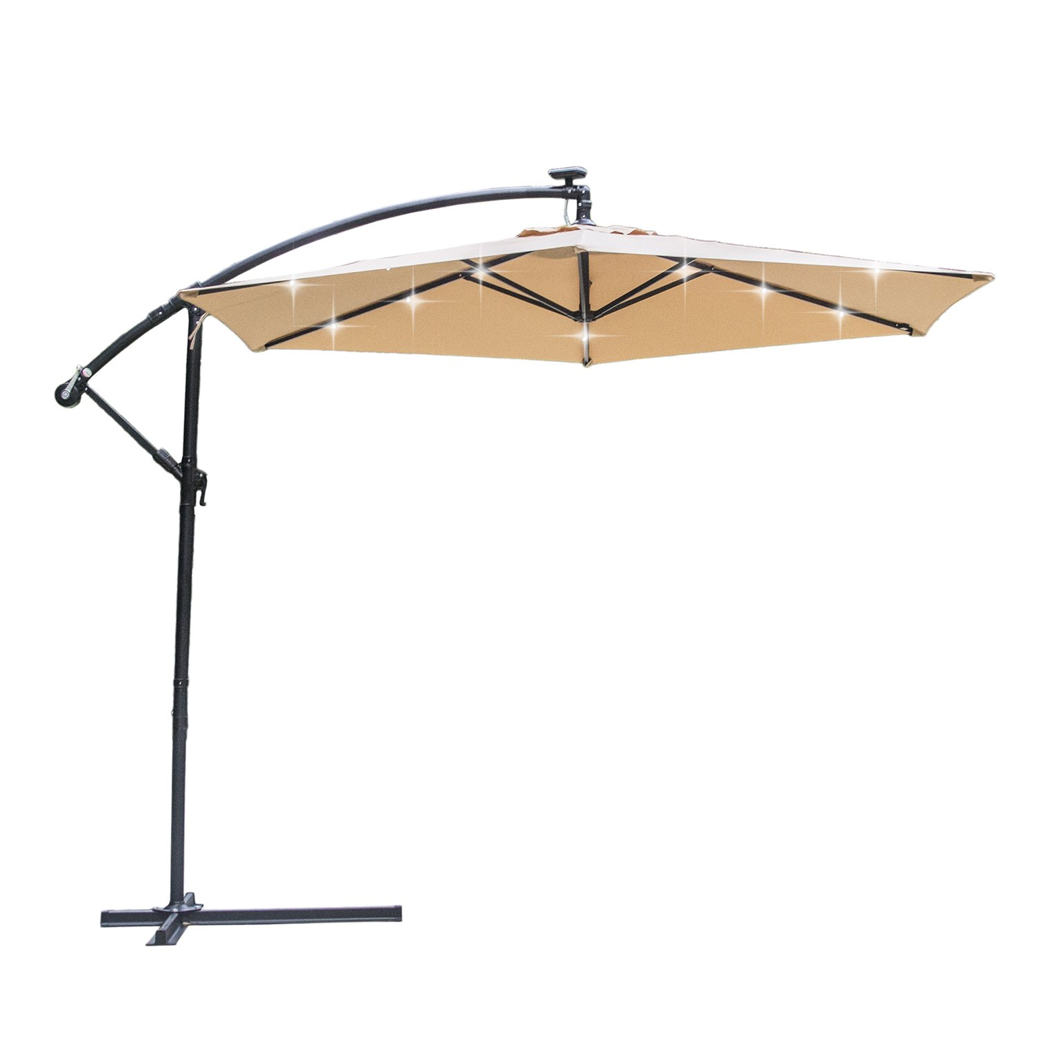 Springsun 10ft Solar LED Lights Patio Cantilever Umbrella ,Taupe