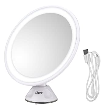 Lighted Makeup Mirror, Isuri Rechargeable LED 7X Magnifying Lighted Makeup  Cosmetic Mirror With Powerful Locking