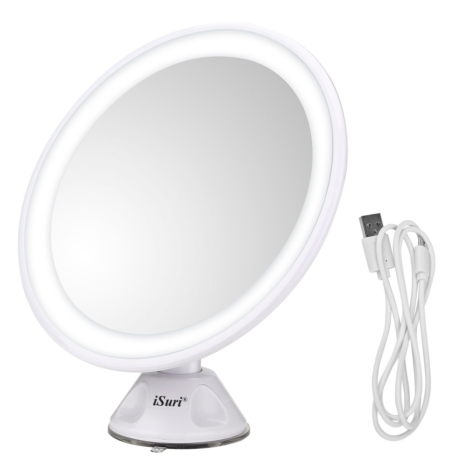 80% Off (code 4R2PEY25) - iSuri LED Lighted Makeup Mirror, Rechargeable LED Magnifying Vanity Makeup Mirror with Powerful Locking Suction, Bathroom Movable Mirror With USB Charged