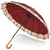 傘 メンズ 和傘 日傘 uvカット レディース 晴雨兼用 長傘 16本骨 丈夫 雨傘 オリジナル ワイン