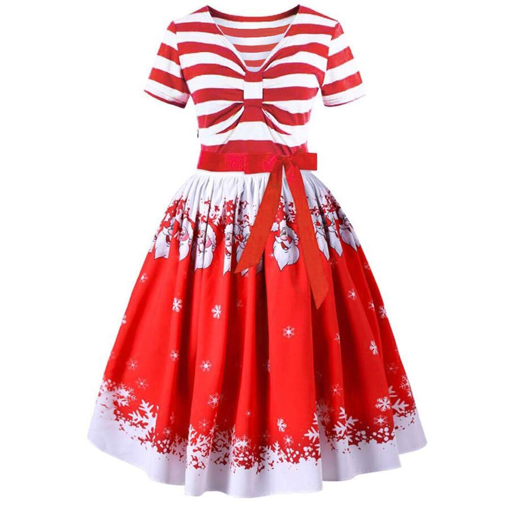 POIUDE Clearance Christmas Women Dress Santa Claus Striped Printed Vintage Dress POIUDE-baby clothes