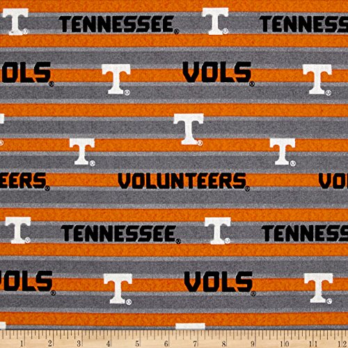 (Sykel Enterprises NCAA University of Tennessee Polo Stripe Allover Grey Fabric by The Yard, )