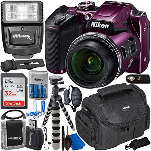 Nikon COOLPIX B500 Digital Camera with Essential Accessory Bundle - Includes: SanDisk Ultra 32GB SDHC Memory Card, Rechargeable Batteries (8-AA) & Dock Charger, Digital Slave Flash & Much More (Plum)