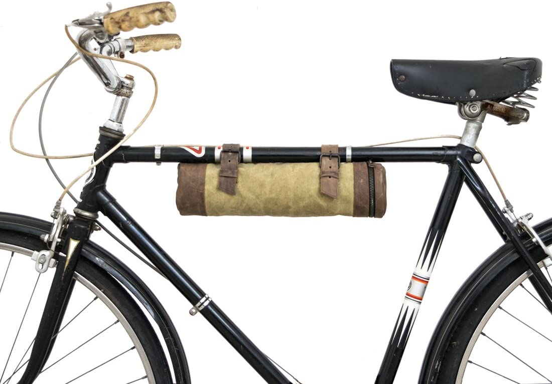 Waxed Canvas Bike Pack Tube Handmade by Hide Drink