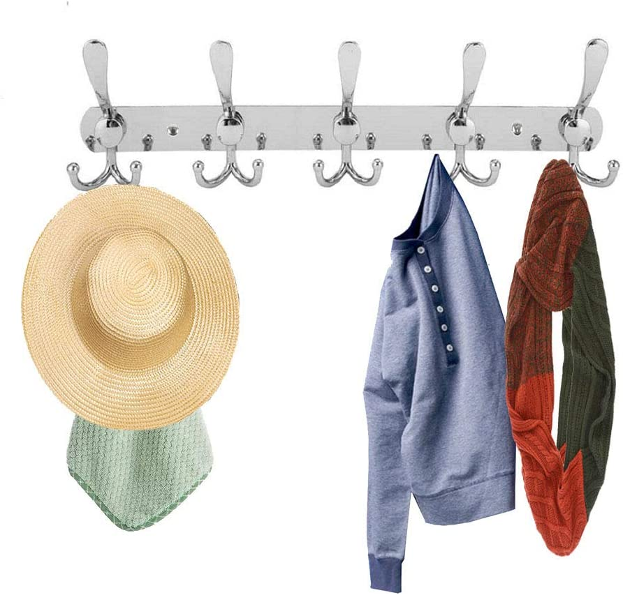 Beilala 2 Pack of Wall Mounted Coat Racks, Metal 10 Tri Coat Hooks, Heavy Duty Coat Hanger for Clothes Robes Towels Hats, Silver Silver