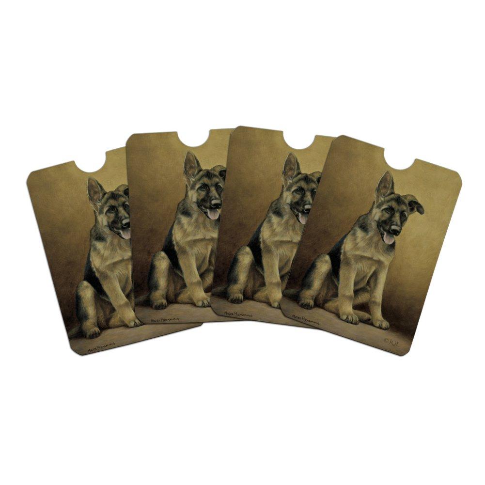 German Shepherd Puppy Portrait Credit Card RFID Blocker Holder Protector Wallet Purse Sleeves Set of 4