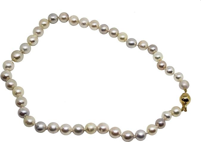 Collar de plata de ley con 41 perlas naturales australianas de 9 x 14 mm de diámetro con cierre de plata AG925