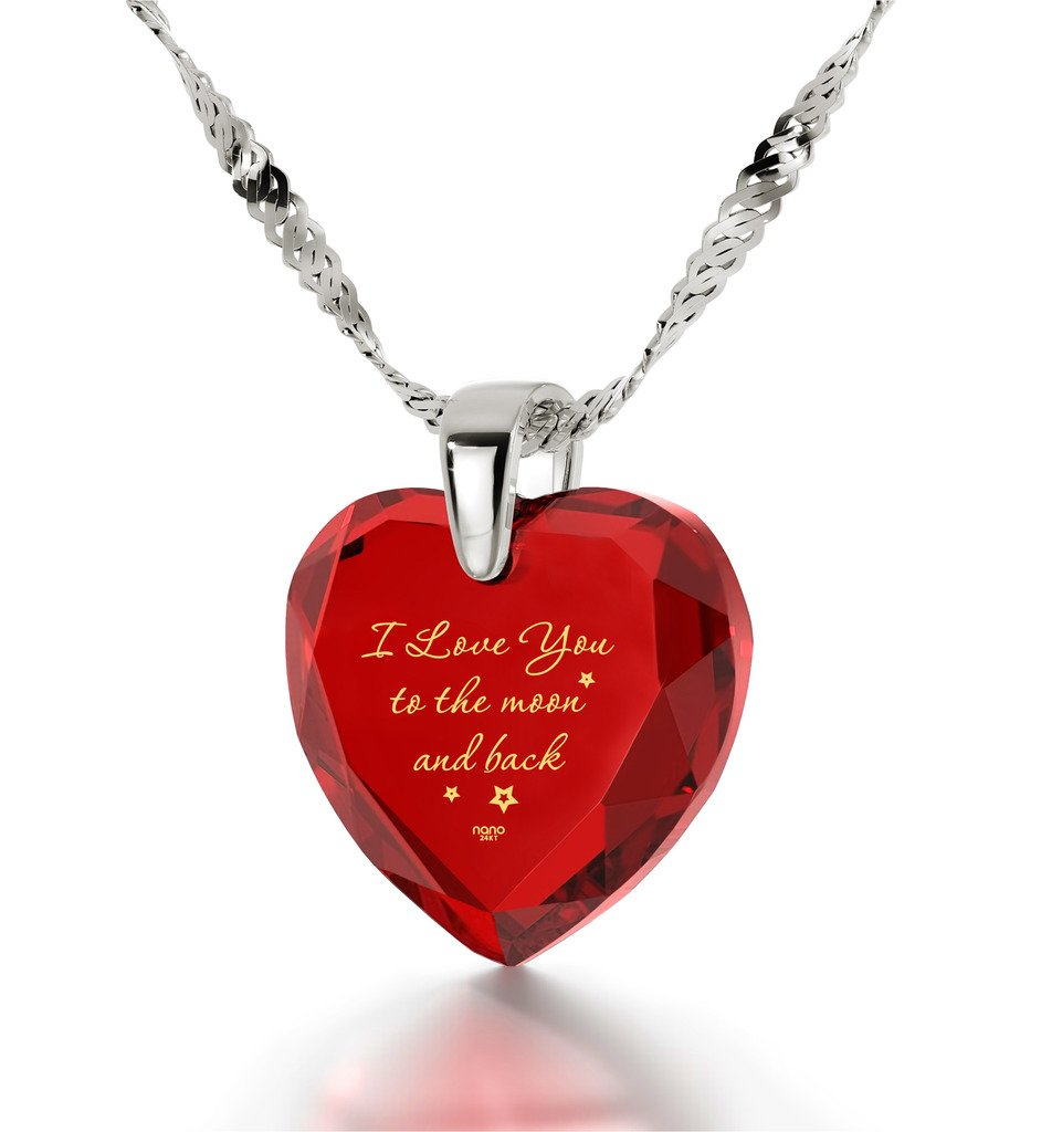 925 Sterling Silver Heart Necklace I Love You to The Moon and Back Pendant 24k Gold Inscribed Red CZ, 18''