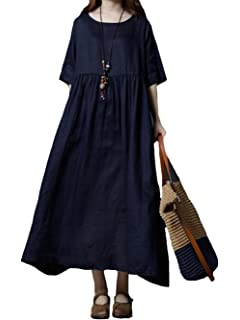 ae17f30e8573c MengFan レディース ワンピース ゆったり スプライス 綿麻 ワンピース 大振り子 ロングスカート エレガント 半袖シャツ ドレス