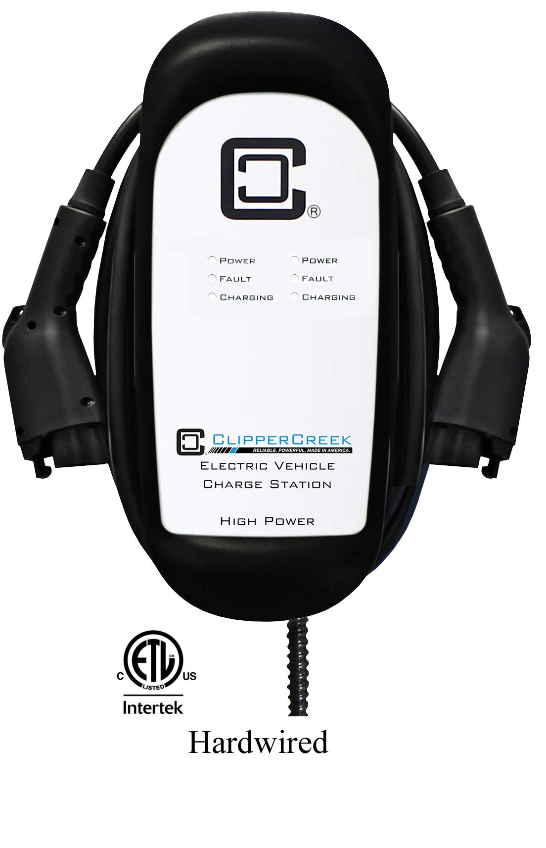 ClipperCreek Dual Charging Station, Level 2, 240V, 32 Amps, Comes with Two 25-Foot Charging Cables and Connector Holsters