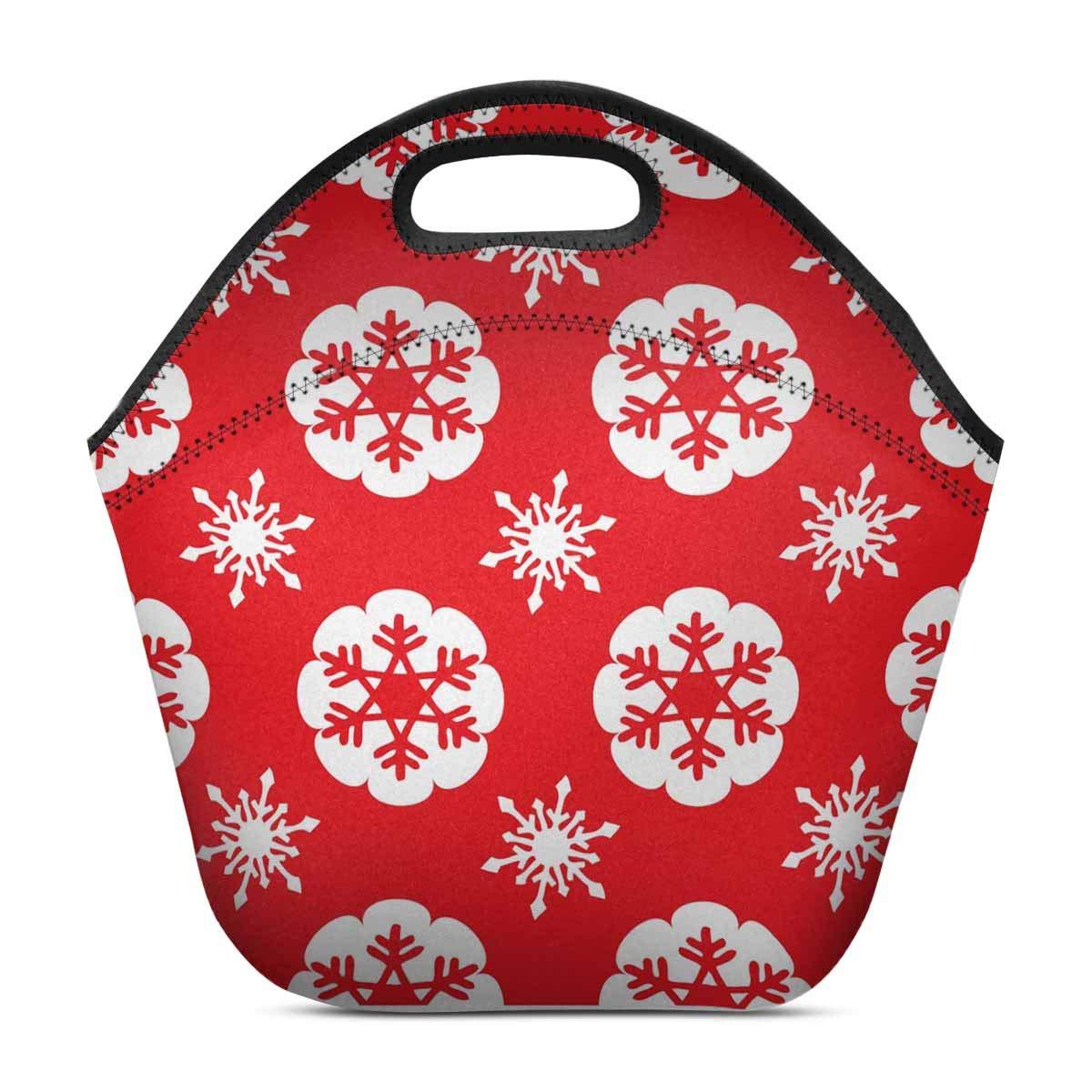 fe1abde9f345 Amazon.com: InterestPrint Neoprene Lunch Bag Christmas Snowflake ...