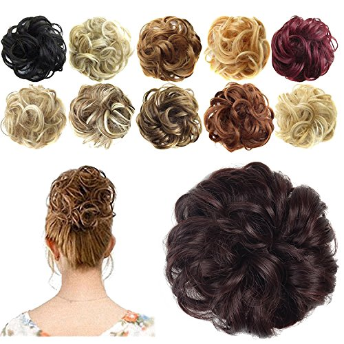 Scrappy Fiber - FESHFEN Synthetic Hair Bun Extensions Messy Hair Scrunchies Hair Pieces for Women Hair Donut Updo Ponytail