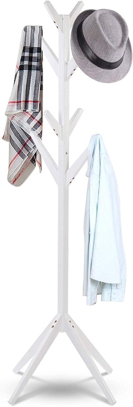Bianco Soggiorno in Legno Garage Zoternen Appendiabiti da Terra 8 Hook Ingresso Attaccapanni in Treppiede per Ingresso 44 * 41.5 * 165cm Camera da Letto Ufficio