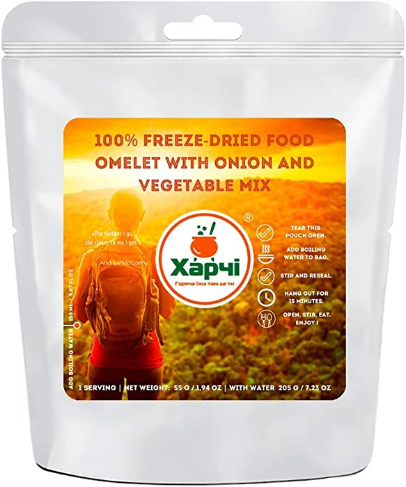 Harchi 100% Freeze-Dried Food | Omelet with Onion and Vegetable Mix | Freeze Dried Backpacking & Camping Food