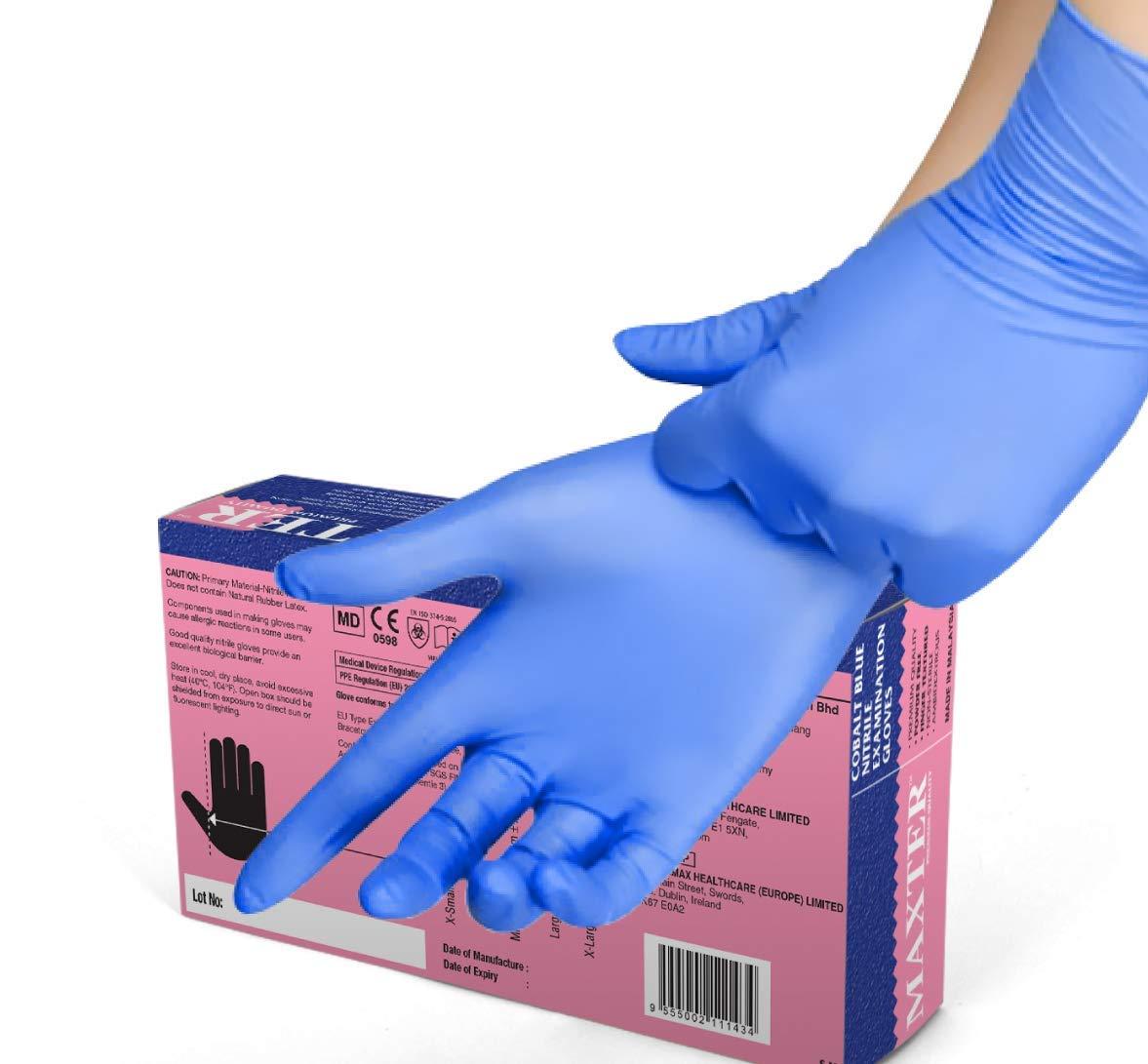VENSALUD Caja de 100 guantes L Color: Azul Sin Polvo Guantes de nitrilo desechables