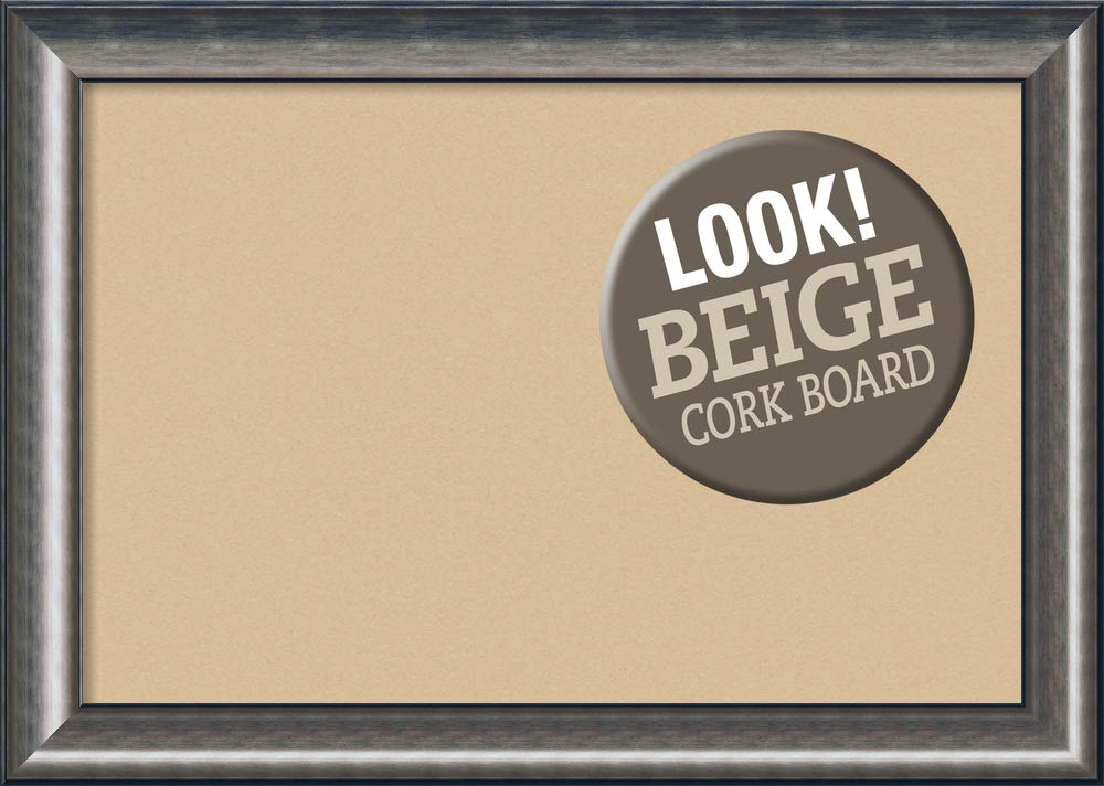 Amanti Art Extra Large, Outer Size 42 x 30 Framed Beige Cork Board X-Lg, Quicksilver Scoop