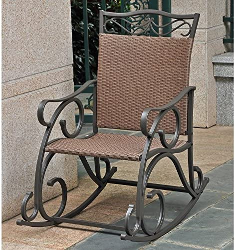 International Caravan Wicker Resin Steel Porch Rocker