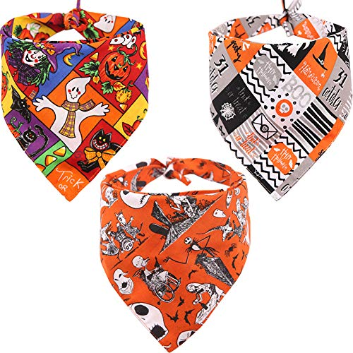 Boxer Halloween Costume For Dog (KZHAREEN 3 PCS/Pack Halloween Dog Bandana Pumpkin Reversible Triangle Bibs Scarf Accessories for Dogs Cats Pets)