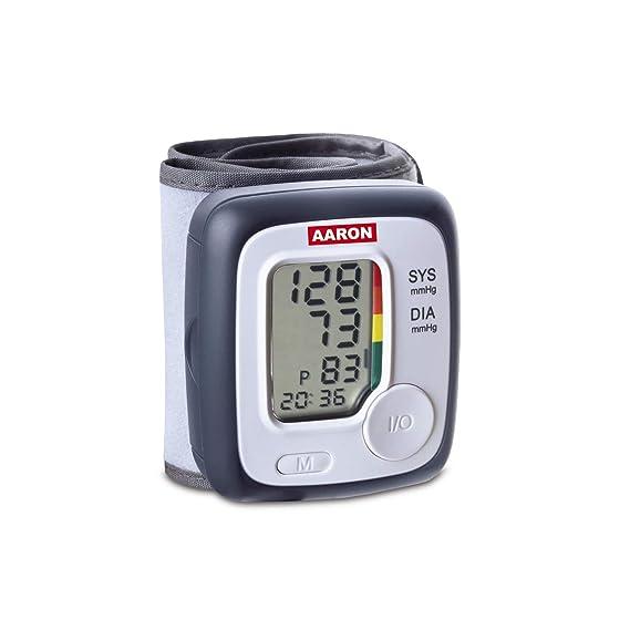 Tensiometro digital de muñeca AARON | one, con tecnología de medición ascendente para una medición más precisa y fiable. Memoria de hasta 80 mediciones.