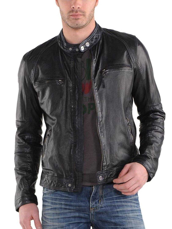 Men Leather Jacket Biker Motorcycle Coat Slim Fit Outwear Jackets AUK044