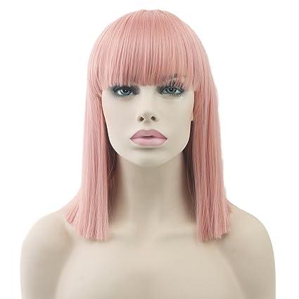 """Zinsale 14"""" Corto Derecho Pelucas Cosplay Natural Resistente al calor Sintético Pedazo de cabello Lolita"""