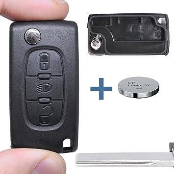 – Llave Carcasa Llave Mando a distancia Llave de Coche en blanco + Batería para Citroen/Peugeot/Fiat