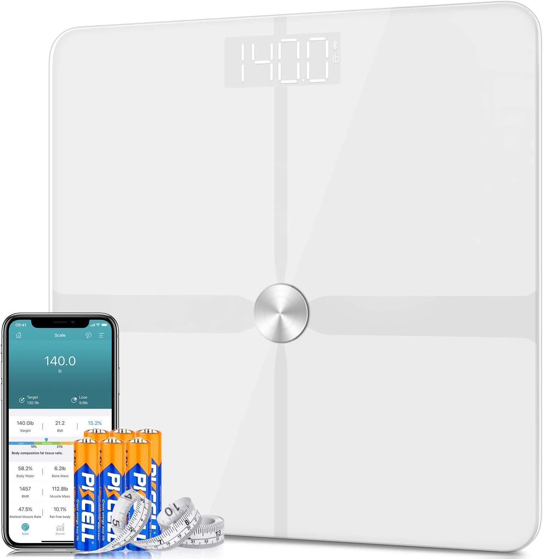 1byone Pèse Personne Impédancemètre, Balance Connectée Électronique Digital ITO Bluetooth, Pour iOS et Android, Exporter les données sous Excel - Blanc