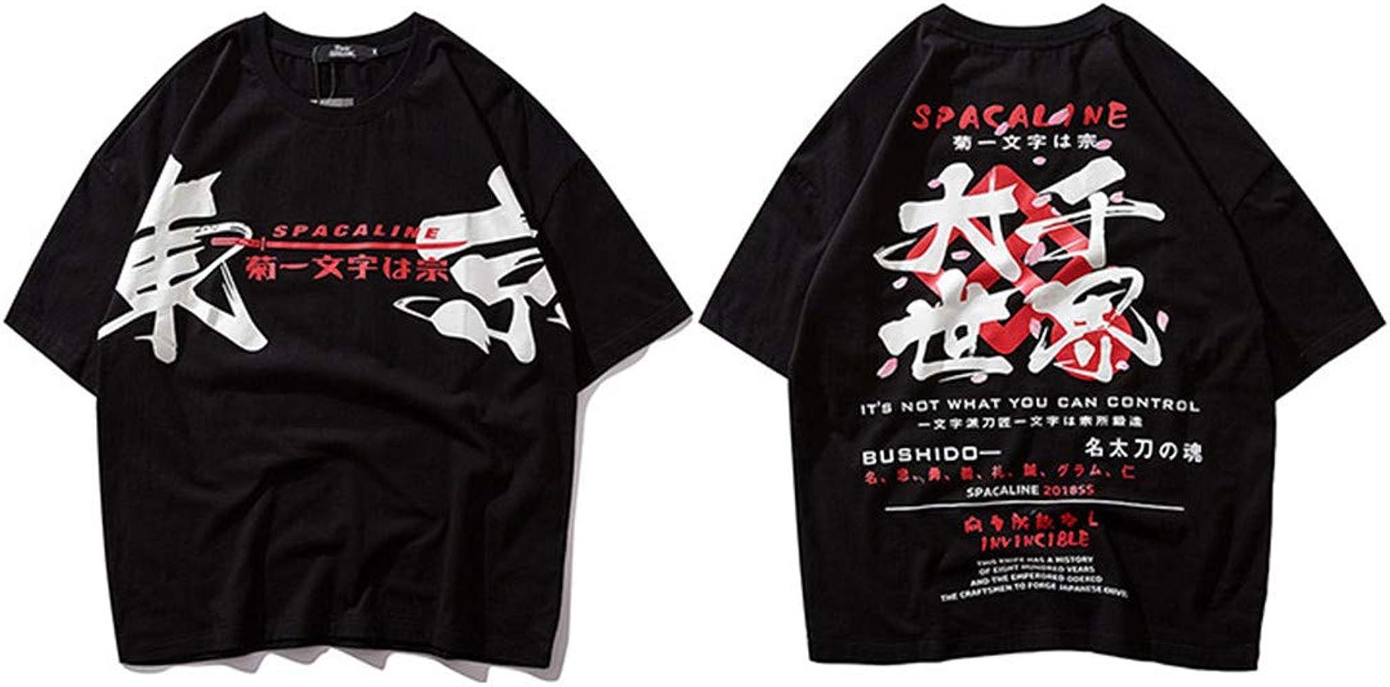 Japonés Harajuku Streetwear Hombres Hip Hop Camiseta Estilo Japón Verano Tokio Cartas Tops Manga Corta Algodón Black M: Amazon.es: Ropa y accesorios