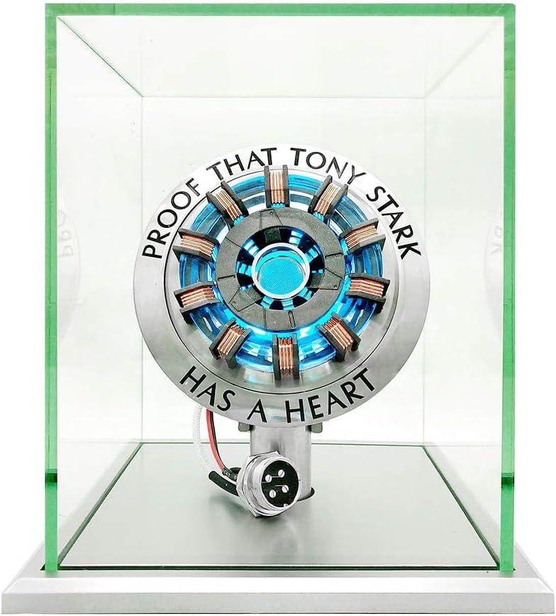Lonyiabbi 1:1 Iron Man Arc Reactor MK2 Model LED Light Vibration Sensing Control USB Interface Finished Product Display Box Toys Gift