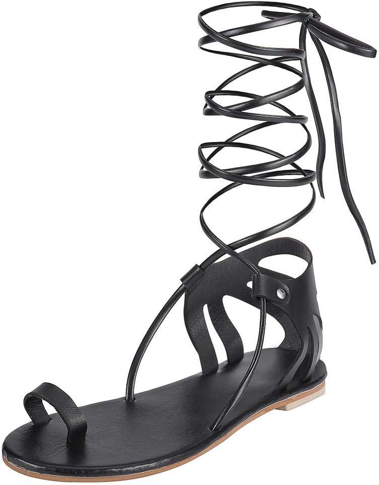 AG&T Sandalias de Gladiador para Mujer Pisos Boca Romana de Pescado Color sólido Vendaje Sandalias Transpirables Zapatos de Mujer: Amazon.es: Deportes y aire libre