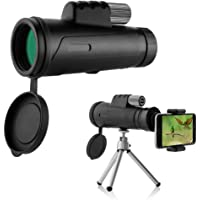 Emmabin Monocular Telescopes 12X42 High Power Prism Monocular Low Night Vision with Phone Clip and Tripod - Waterproof Fog-Proof Shockproof Scope -BAK4 Prism FMC for Bird Watching Hunting Camping