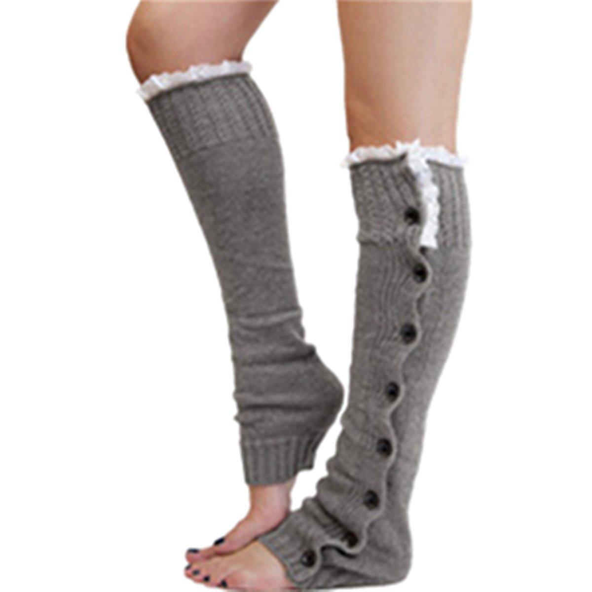 Clearance! E-Papaya 2016 Women's Buttons Leg Warmer Knit Boot Socks Topper Cuff (Y-Light Grey)