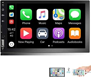 Camecho 7 inch Double Din Car Stereo 1080P HD Touch Screen Radio D-Play Universal Car Multimedia Player Support Android and iOS Mirror Link with Bluetooth/FM/USB/AUX/RCA/Rear View Camera Input