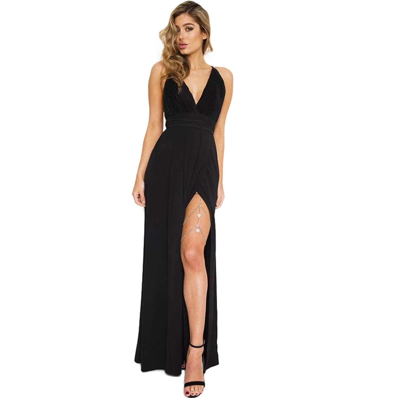 778f3310cf6 LIXYIT Women s Chiffon Spaghetti Strap Sexy Deep V Neck High Slit Maxi  Party Beach Dress at Amazon Women s Clothing store