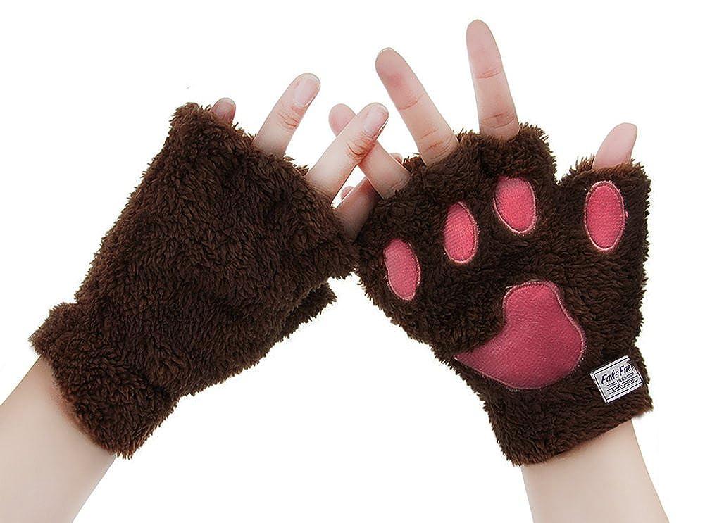 BXT Womens Girls Winter Gloves Mittens Cute Cartoon Animal Claw Half Finger Thick & Warm Soft Plush Coral Fleece String Gloves Mittens GLO-FHF-000054