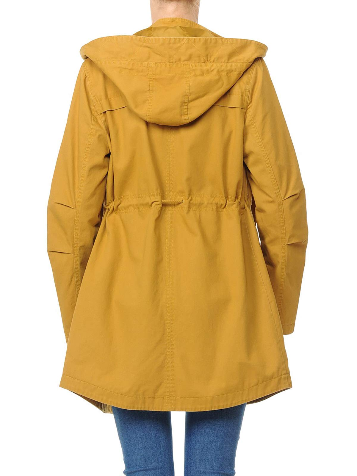 Instar Mode Women's Trendy Cotton Oversized Hooded Anorak Jacket Olive L by Instar Mode (Image #2)