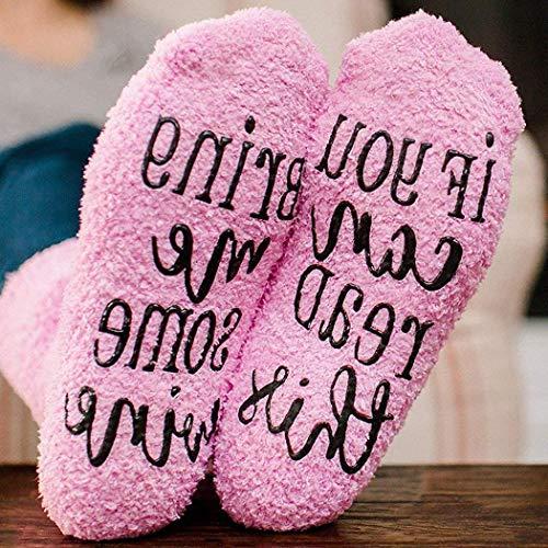 Women Cartoon If You Can Read This Letter Print Plush Socks Winter Warm Socks