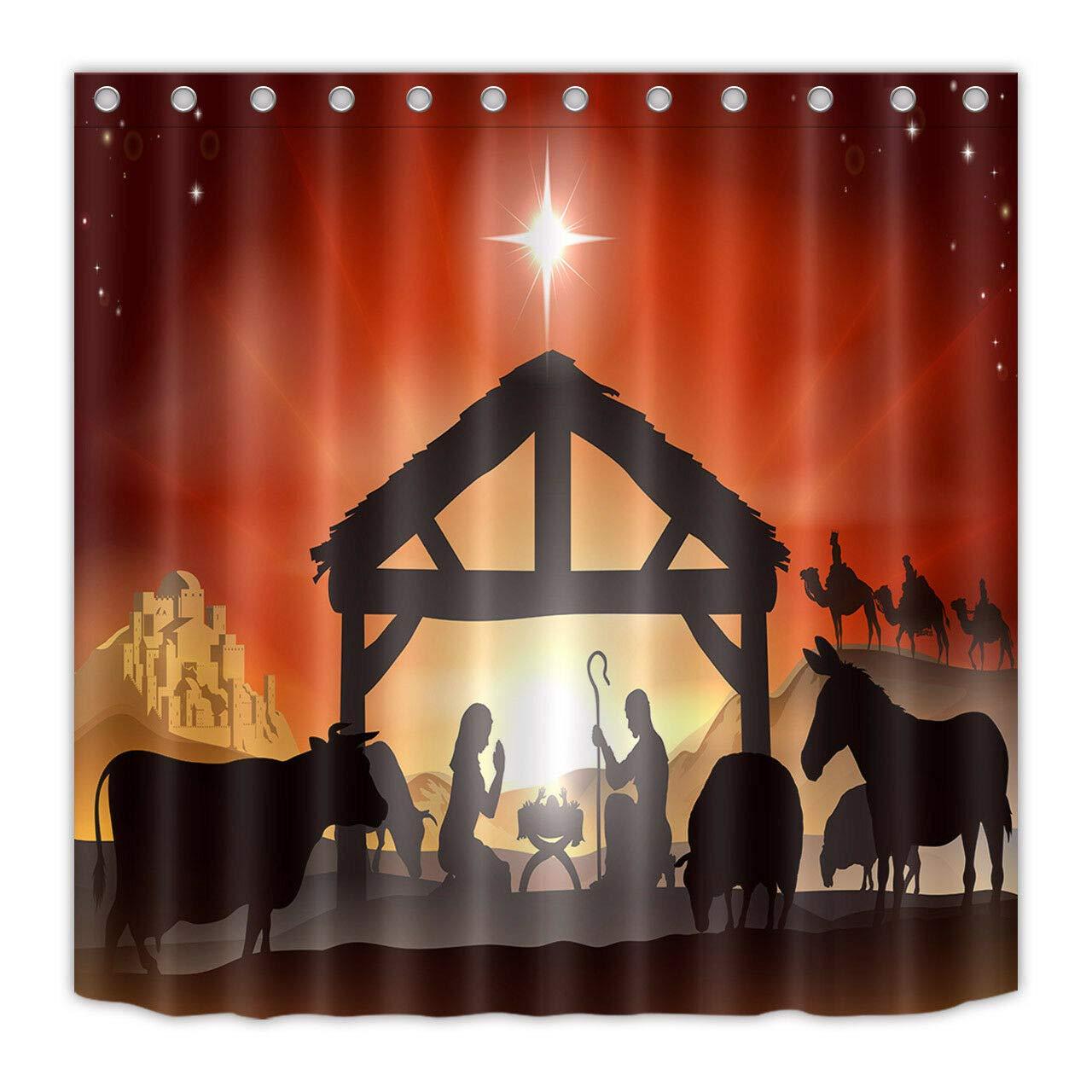 Waterproof Bathroom Shower Curtain Nativity of Jesus Scene Manger Three Kings