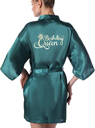 Women's Birthday Queen Squad Mother of Birthday Girl Kimono Party Robes Satin Getting Ready Robes for Spa Prom Birthday Party