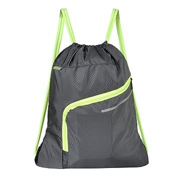 469db4ff70a2 Saigain Gym Sack Large Drawstring Backpack Sport Bag Sackpack with Zipper  for Men & Women,