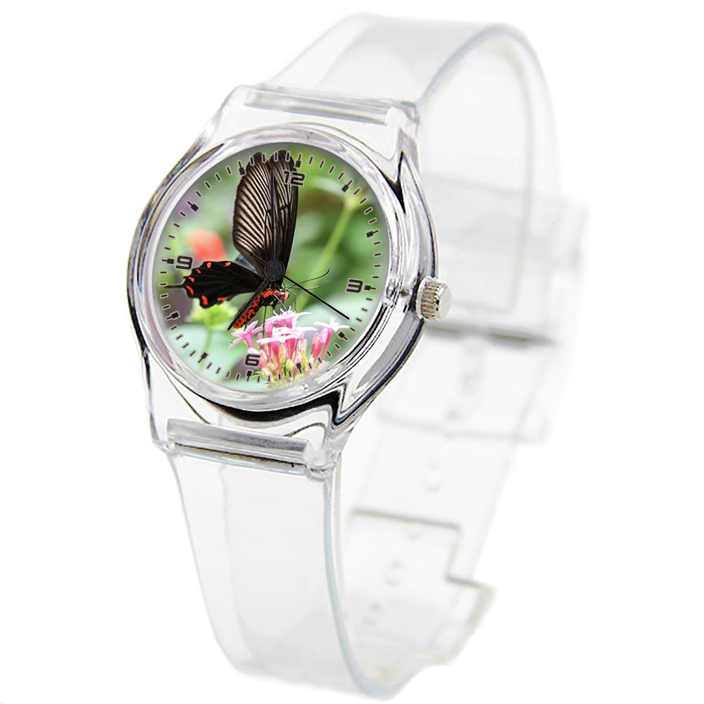 Personality Transparent Wristwatch Transparent Strap Summer Decoration Woman Child teacher Teen Young Girls Children Kids Watches Colorful Flower-096.Butterfly, Exotic, Flowers